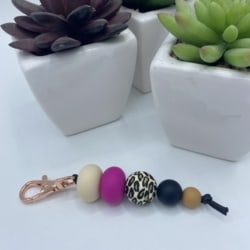 Keychains with clip – Leopard print – rose gold clip
