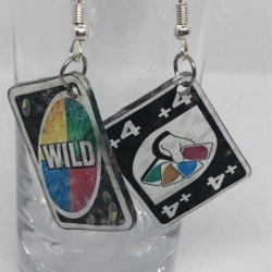 Draw 4 and Wild Uno Earrings