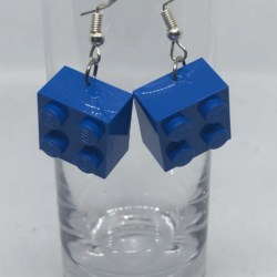 Blue Lego Block Earrings