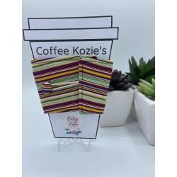 Coffee Kozie – Maroon horizontal stripes