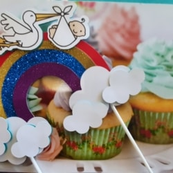 Baby Shower, Cake Toppers, gender Reveal, Rainbows