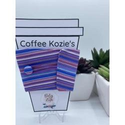 Coffee Kozie – Purple horizontal stripes