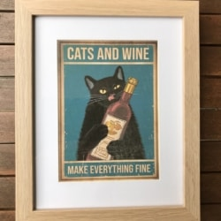 Vintage style print. Cats and wine.