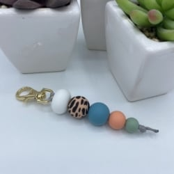 Keychains with clip – Cheetah print – gold clip