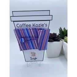 Coffee Kozie – Purple vertical stripes