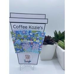 Coffee Kozie – Blue Green Purple Floral
