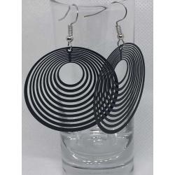 Black Circular Filigree Earrings