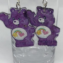 Purple Care Bear Earrings