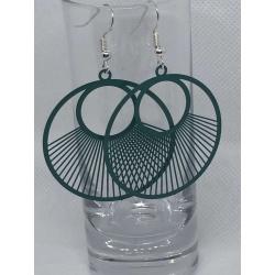 Dark Turquoise Circular Filigree Earrings