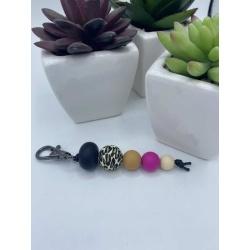Keychains with clip – Leopard print – gun metal clip