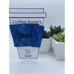 Coffee Kozie – Blue diamond pattern