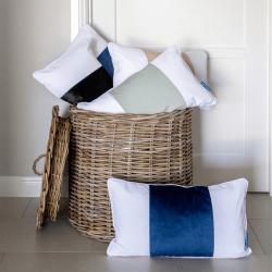 BADEN Dark Blue and White Panel Velvet Cushion Cover 30 cm by 50 cm