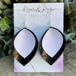 Faux Leather Double Leaf Earrings (Sterling Silver)