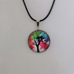Cabochon jewellery pendant with leather band. Free Shipping