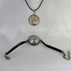 Cabochon jewellery Pendent & bracelet with leather band. Free Shipping