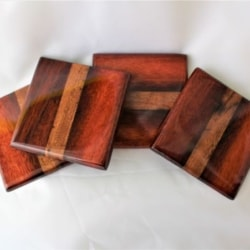 Drink Coaster, Set of 4, Australian Recycled Timber, Resin Coated, Free Shipping