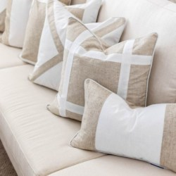 EASTWOOD Silver Jute and White Panel Cushion Cover 30 cm by 50 cm