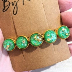 Elegant Green with Gold Hair Barrette / Hair Clip – Suits most hair types – Gold #2