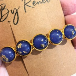 Elegant Blue with Gold Hair Barrette / Hair Clip – Suits most hair types – Gold #1