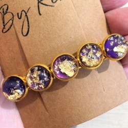 Elegant Purple with Gold Hair Barrette / Hair Clip – Suits most hair types – Gold