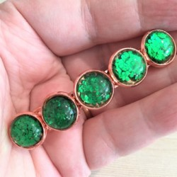 Jazzy Green Glitter Hair Barrette / Hair Clip – Suits most hair types – Rose Gold