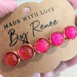 Jazzy Hot Pink Glitter Hair Barrette / Hair Clip – Suits most hair types – Rose Gold