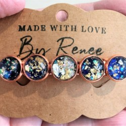 Elegant Blue and Gold Hair Barrette / Hair Clip – Suits most hair types – Rose Gold
