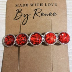 Jazzy Red Glitter Hair Barrette / Hair Clip – Suits most hair types – Silver