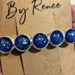 Elegant Blue with Glitter Hair Barrette / Hair Clip – Suits most hair types – Silver