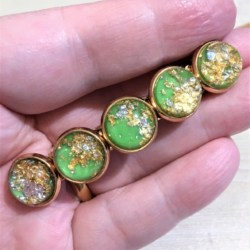 Elegant Green with Gold Hair Barrette / Hair Clip – Suits most hair types – Light Gold #2