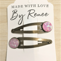 Pretty Pink Faux Opal Hairclips / Hairgrips – sold in pairs – Bronze