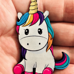 Cute Rainbow Unicorn with Golden Horn Brooches / Shawl Pins / Embellishments