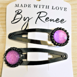 Jazzy Pink Hairclips / Hairgrips – sold in pairs – Dark silver