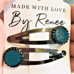 Rich Turquoise Hairclips / Hairgrips – sold in pairs – Dark silver
