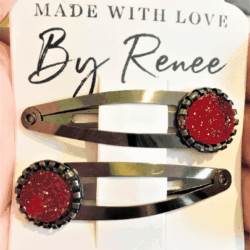 Deep Red Hairclips / Hairgrips – sold in pairs – Dark silver