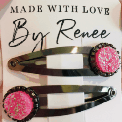 Bright Pink Hairclips / Hairgrips – sold in pairs – Dark silver