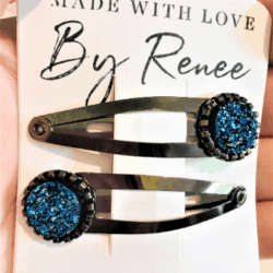 Jazzy Dark Blue Hairclips / Hairgrips – sold in pairs – Dark silver