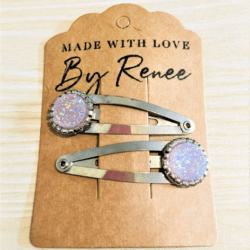 Pale Pink Mauve Hairclips / Hairgrips – sold in pairs – silver