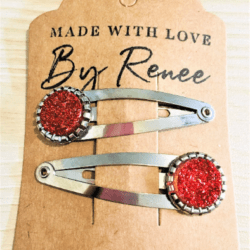 Earthy Red Hairclips / Hairgrips – sold in pairs – silver