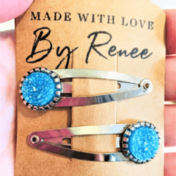 Aqua Blue Hairclips / Hairgrips – sold in pairs – silver