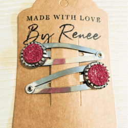 Rosy Red Hairclips / Hairgrips – sold in pairs – silver