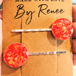 Orange, Red and Yellow Faux Opal Hair Pins – Silver – sold in pairs – suits most hair types