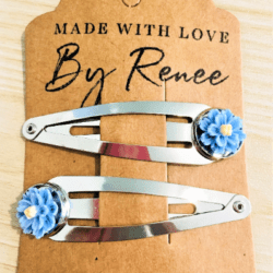 Pretty Blue Flower Hairclips – sold in pairs