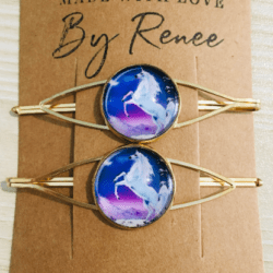 Pretty Unicorn Golden Hair Pins – sold in pairs – Suits most hair types