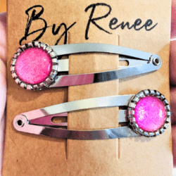 Jazzy Pink Hairclips / Hairgrips – sold in pairs – silver