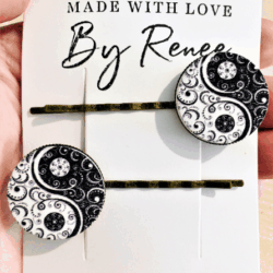 Unique Yin-yang Floral Scroll Hairpins / Clips – (sold in pairs)
