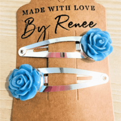Bright Blue Rose Hairclips – sold in pairs