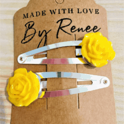 Bright Yellow Rose Hairclips – sold in pairs