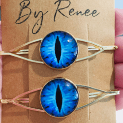 Striking Blue Eye Hair Pins – Gold – sold in pairs – Suits most hair types – Halloween Theme