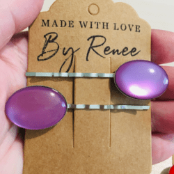 Bright Purple Oval Hair Pins – Silver – suits most hair types – sold in pairs